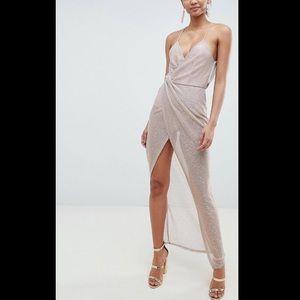 Metallic Drape Maxi Dress